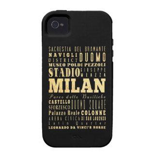 Ciudad de Milano del arte de la tipografía de Ital Case-Mate iPhone 4 Carcasa