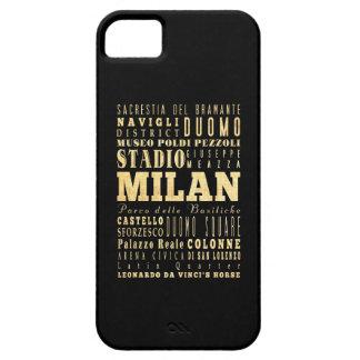 Ciudad de Milano del arte de la tipografía de Ital iPhone 5 Case-Mate Fundas