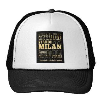 Ciudad de Milano del arte de la tipografía de Ital Gorras