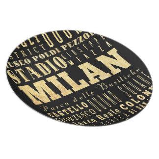 Ciudad de Milano del arte de la tipografía de Ital Plato Para Fiesta