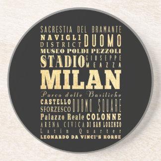 Ciudad de Milano del arte de la tipografía de Ital Posavasos Cerveza