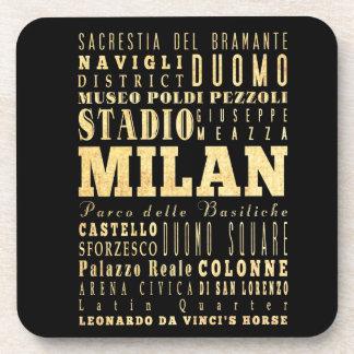 Ciudad de Milano del arte de la tipografía de Ital Posavasos De Bebida