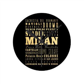 Ciudad de Milano del arte de la tipografía de Ital Reloj Redondo Mediano