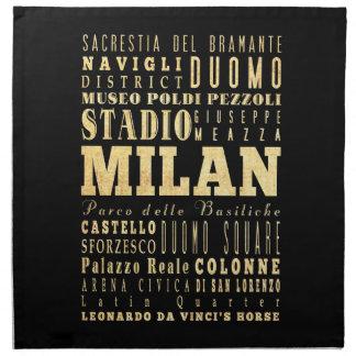 Ciudad de Milano del arte de la tipografía de Ital Servilletas De Papel