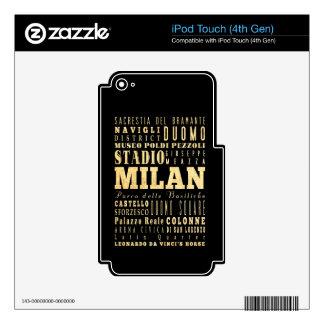 Ciudad de Milano del arte de la tipografía de Ital iPod Touch 4G Calcomanías