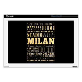 Ciudad de Milano del arte de la tipografía de Ital Skins Para 43,2cm Portátiles