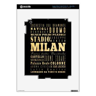 Ciudad de Milano del arte de la tipografía de Ital iPad 3 Skin