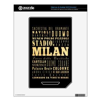 Ciudad de Milano del arte de la tipografía de Ital Calcomanía Para El NOOK Color
