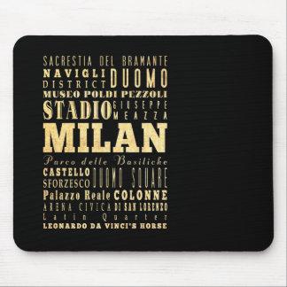 Ciudad de Milano del arte de la tipografía de Ital Tapete De Ratón