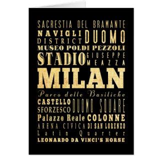 Ciudad de Milano del arte de la tipografía de Ital Tarjetas