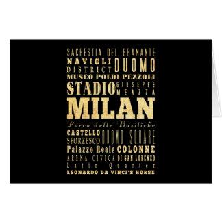 Ciudad de Milano del arte de la tipografía de Ital Tarjeta