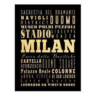 Ciudad de Milano del arte de la tipografía de Ital Postal