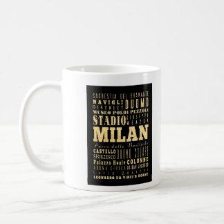 Ciudad de Milano del arte de la tipografía de Ital Taza De Café