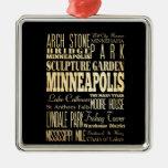 Ciudad de Minneapolis del arte de la tipografía Adorno Navideño Cuadrado De Metal