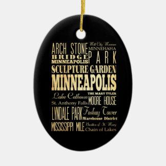 Ciudad de Minneapolis del arte de la tipografía Adorno Navideño Ovalado De Cerámica