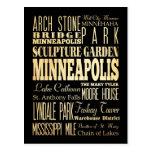 Ciudad de Minneapolis del arte de la tipografía de Postal