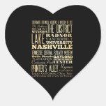 Ciudad de Nashville del arte de la tipografía del Pegatina En Forma De Corazón