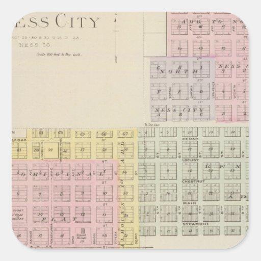 Ciudad de Ness, Grainfield, Kansas Colcomanias Cuadradas Personalizadas