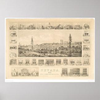 Ciudad de Nevada, mapa panorámico 1856 (1184A) del Póster