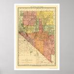 Ciudad de Nevada y mapa 1893 del ferrocarril Póster