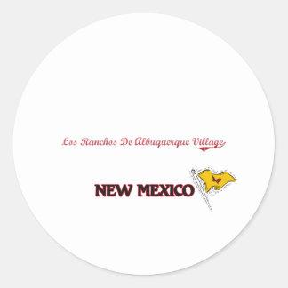 Ciudad de New México del pueblo del De Albuquerque Pegatina Redonda