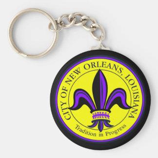 Ciudad de New Orleans, flor de lis del LA Llavero Redondo Tipo Pin