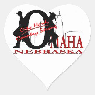 Ciudad de Omaha, Nebraska difícilmente, país Pegatina En Forma De Corazón