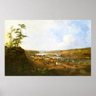 Ciudad de Oregon en el río de Willamette Póster