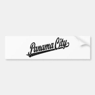 Ciudad de Panamá en el negro apenado Etiqueta De Parachoque