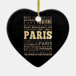 Ciudad de París del arte de la tipografía de Franc Adornos De Navidad