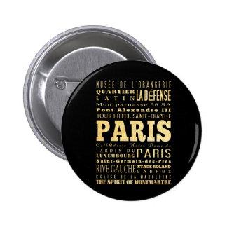 Ciudad de París del arte de la tipografía de Franc Pin Redondo De 2 Pulgadas
