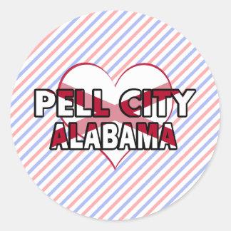 Ciudad de Pell, Alabama Pegatina Redonda