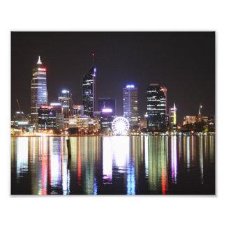 Ciudad de Perth, horizonte de la noche, Austraila  Fotografía