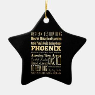 Ciudad de Phoenix del arte de la tipografía del Adorno De Cerámica En Forma De Estrella