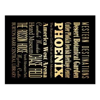 Ciudad de Phoenix del arte de la tipografía del Postal