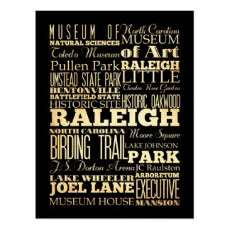 Ciudad de Raleigh de la tipografía del estado de C Tarjeta Postal