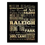 Ciudad de Raleigh de la tipografía del estado de Postal