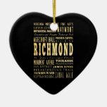 Ciudad de Richmond si arte de la tipografía de Adorno Navideño De Cerámica En Forma De Corazón
