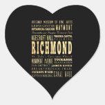Ciudad de Richmond si arte de la tipografía de Calcomanías De Corazones Personalizadas
