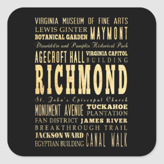 Ciudad de Richmond si arte de la tipografía de Pegatina Cuadradas Personalizada