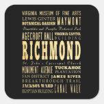 Ciudad de Richmond si arte de la tipografía de Vir Pegatina Cuadradas Personalizadas