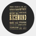 Ciudad de Richmond si arte de la tipografía de Vir Etiqueta Redonda