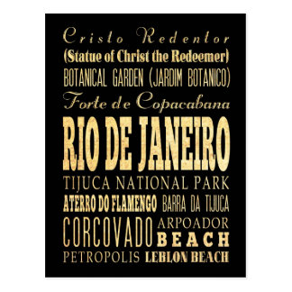Ciudad de Río de Janeiro del arte de la tipografía Tarjetas Postales