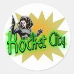 Ciudad de Rocket Pegatinas Redondas