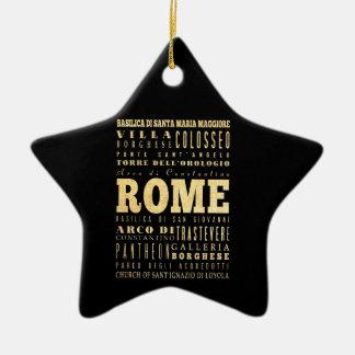 Ciudad de Roma del arte de la tipografía de Italia Adorno Navideño De Cerámica En Forma De Estrella