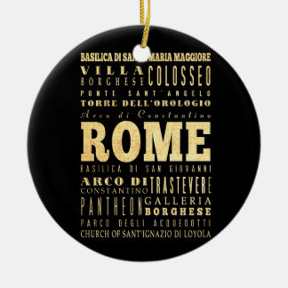 Ciudad de Roma del arte de la tipografía de Italia Adorno Navideño Redondo De Cerámica
