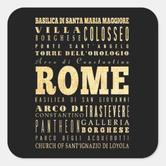 Ciudad de Roma del arte de la tipografía de Italia Pegatina Cuadrada