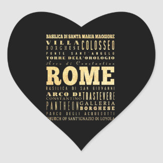 Ciudad de Roma del arte de la tipografía de Italia Pegatina En Forma De Corazón