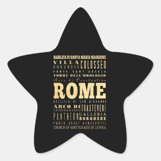 Ciudad de Roma del arte de la tipografía de Italia Pegatina En Forma De Estrella