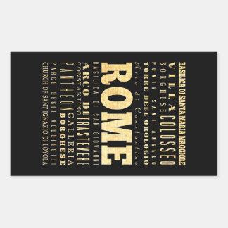 Ciudad de Roma del arte de la tipografía de Italia Pegatina Rectangular